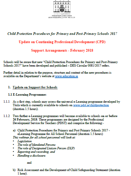 children first 2017 child protection procedures 2017 clarification of pdst support to schools 2018